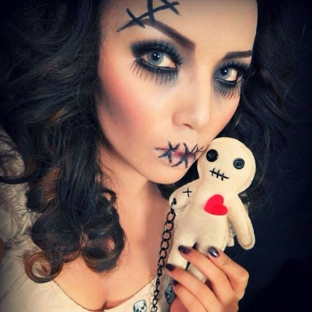 2014 stitch lips rag doll makeup for halloween party - eye makeup face painting-f57947